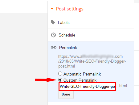 custom permailink in blogger