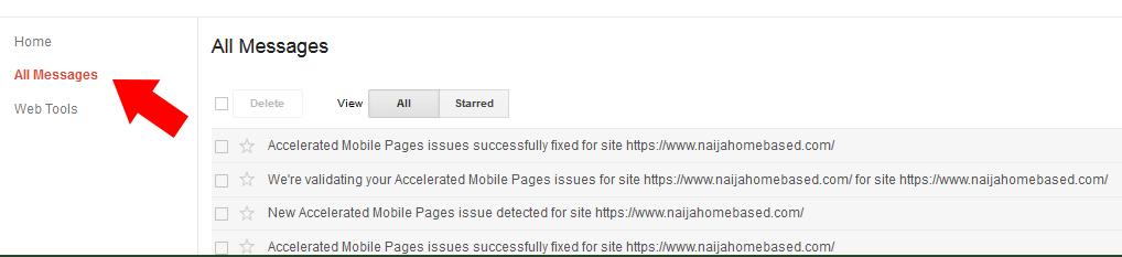 AMP error messages
