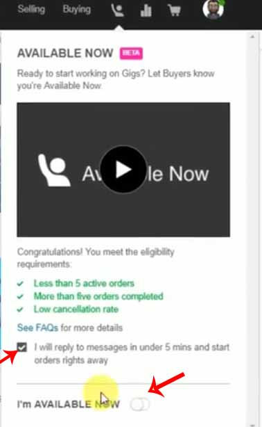Activating Fiverr available now