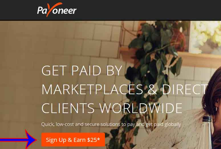 earn 25 dollars signing up with Payoneer