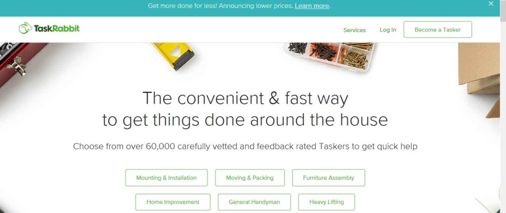 Homepage of taskrabbit.com