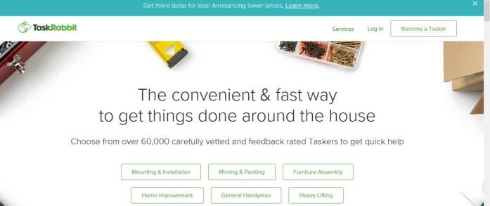 Homepage of taskrabbit.com