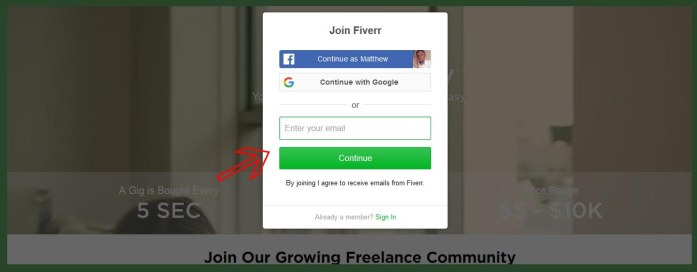 Enter email to signup with Fiverr