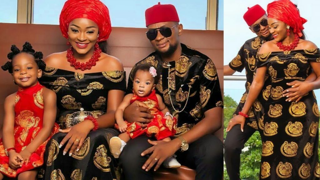 Photo of Chacha Eke, husband and two daughters.