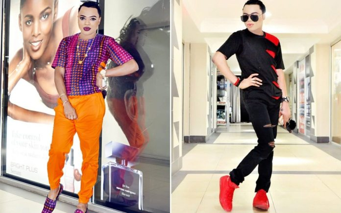 Picture of Bobrisky in black clothes and red sneakers