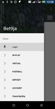 Bet9ja mobile app login screen