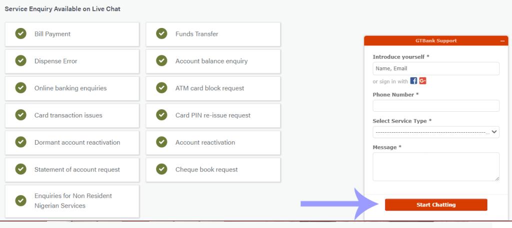 GTBank live chat customer care
