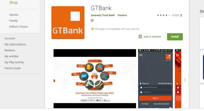 Download GTBank mobile banking app for android on google play store
