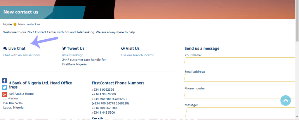 Click on first bank live chat to speack with a customer care representative