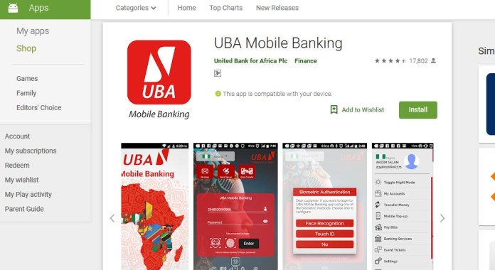 Download UBA mobile banking android apk on Google Play Store