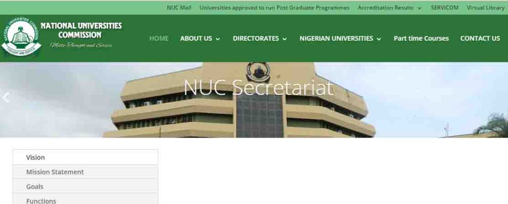 homepage of the National university commissions (NUC)