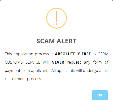 Nigeria custom recruitment scam alert