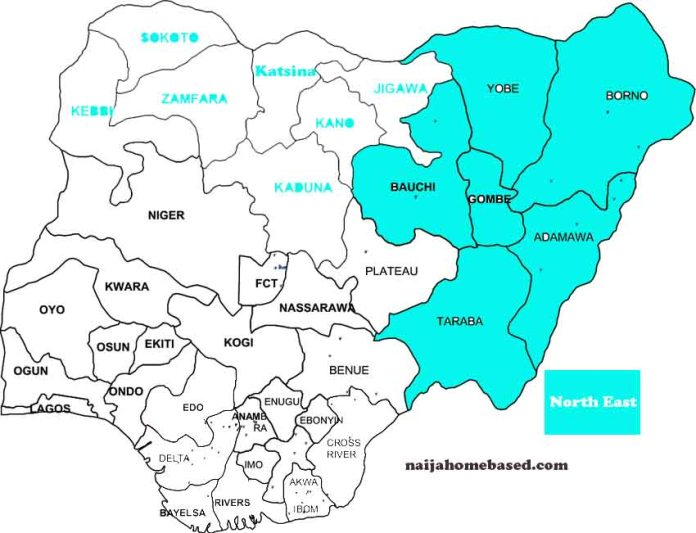 Nigerian map indicating states in the north east geopolitical zone
