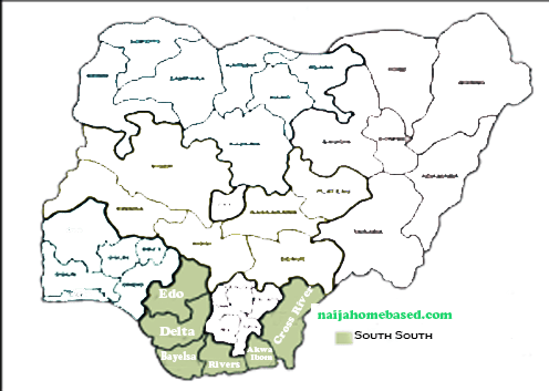 map of south south geopolitical zone in Nigeria