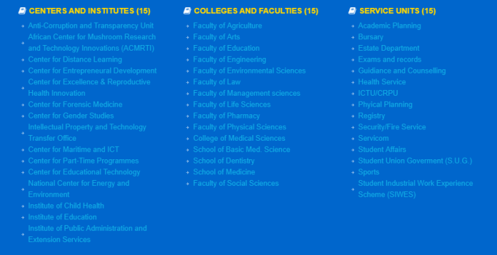 University of Benin (UNIBEN) courses and faculties