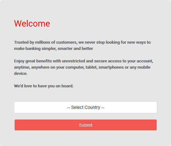 Select your country on the UBA account opening portal