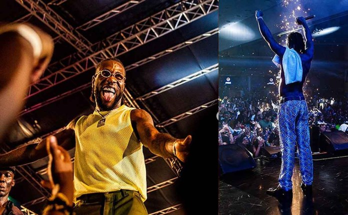 Burna boy performing live on stage