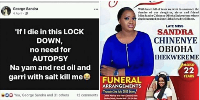 Lady dies 2-months after posting 'if I die during Lockdown no need for autopsy'