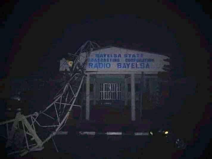 Heavy storm destroys Bayelsa Radio House in Yenagoa (Photos)