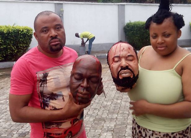 Busted! Actors Caught With Missing Heads Of Segun Arinze & Moses Armstrong (See Photos)