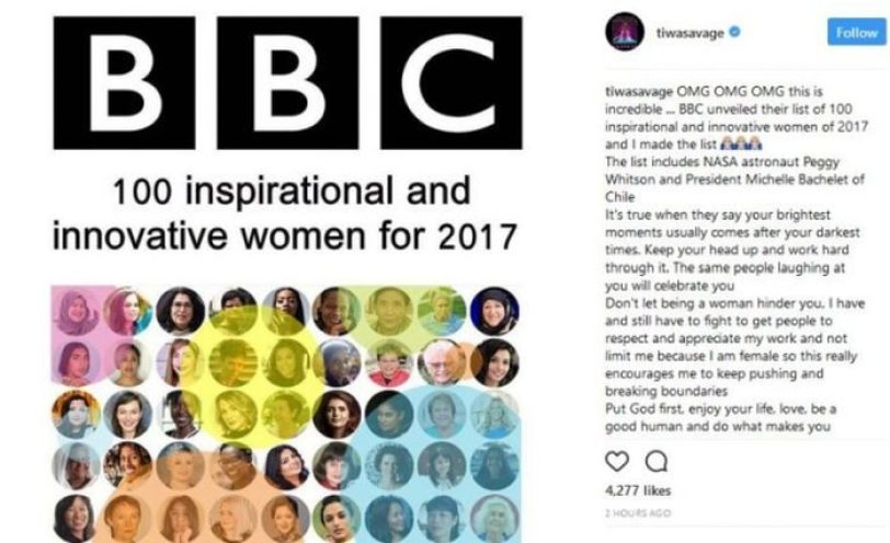 Capturenju 768x469 700x427 - Tiwa Savage Reacts To Making BBC's Top 100 Inspirational & Innovative Women List