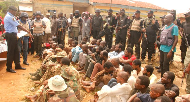 police3 - Police Parade 6 Suspected Fake Soldiers, Kidnappers And Armed Robbers In Abuja (Photos)