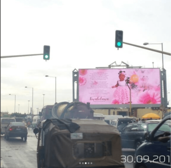 s 1 1 - Wawu!! Comedian Seyilaw Rents Billboard For His Daughter, Tiwa For Her First Birthday (Photos)
