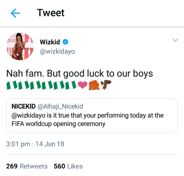 wizkid-FIFA-World-cup-700x530 Wizkid Denies Being Called To Perform At Opening Ceremony Of 2018 World Cup