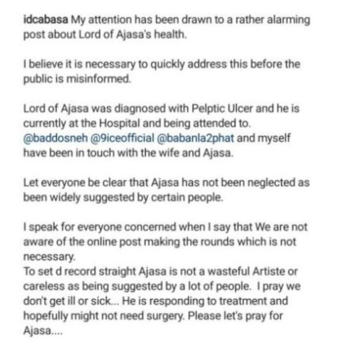 ID Cabasa React To Lord Of Ajasa's Health Issue 2