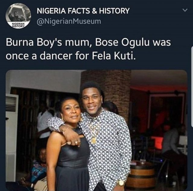 """The mother of Burna Boy """" Bose Ogulu"""" was once a dancer for Fela Kuti (see photo)"""