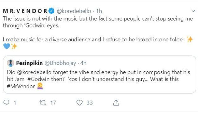 Godwin Is Not My Only Hit Song – Korede Bello Replies Twitter User Who Criticized His New Song