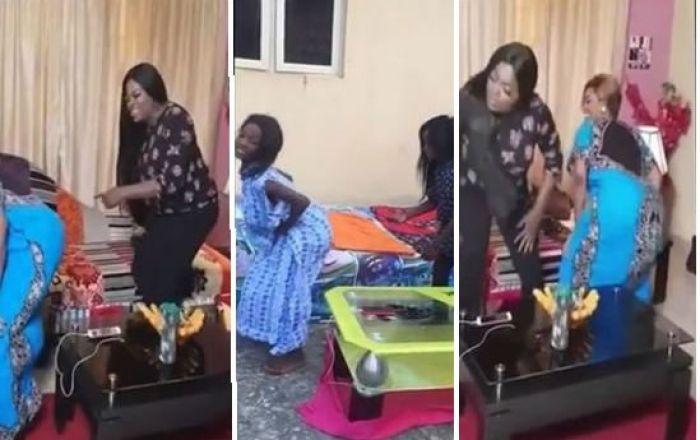 LMAO!! Ikorodu Bois Mimic Funke Akindele Twerking On The Set Of 'Jenifa's Diary' (WATCH VIDEO)