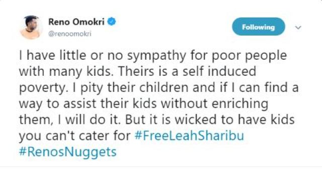'I Have No Sympathy For Poor People With Many Kids' – Reno Omokri