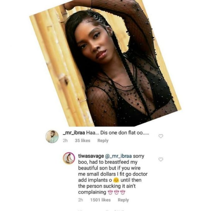 Tiwa Savage Reply Fan Who Complained About Her Flat Breast