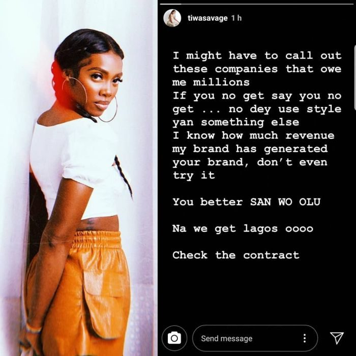 Tiwa Savage Threatens To Reveal Companies Owing Her Millions