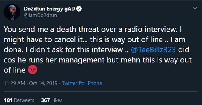 OAP Dotun Receives Death Threats From Tacha Fans Ahead Of Her Radio Interview 3