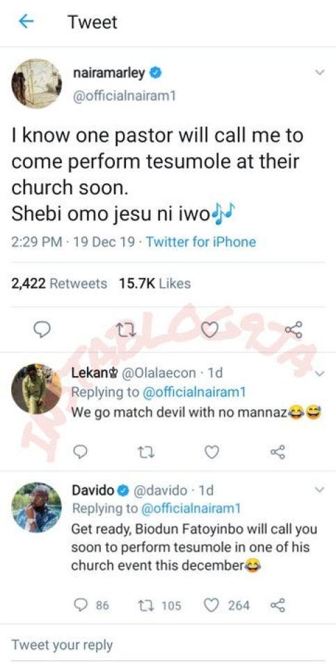 Biodun Fatoyinbo Will Invite You To Perform At His Church: Davido Tells Naira Marley 4