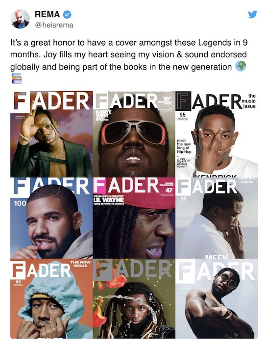 """Mavin Star, Rema Used As The """"Fader Magazine"""" Cover For 2019 4"""