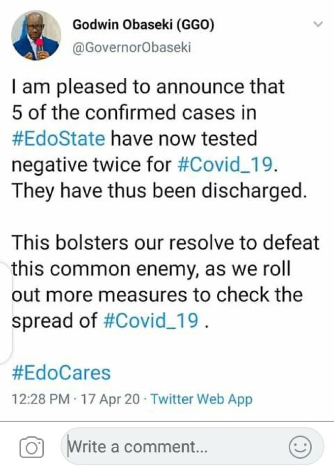 5 Coronavirus Patients In Edo Discharged 1