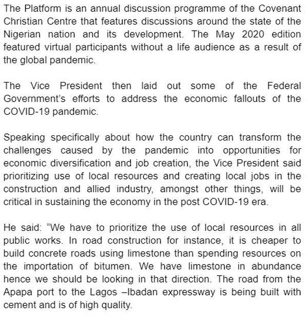 How Nigeria & Nigerians Can Come Out Of COVID-19 Pandemic Stronger - Osinbajo Reveals