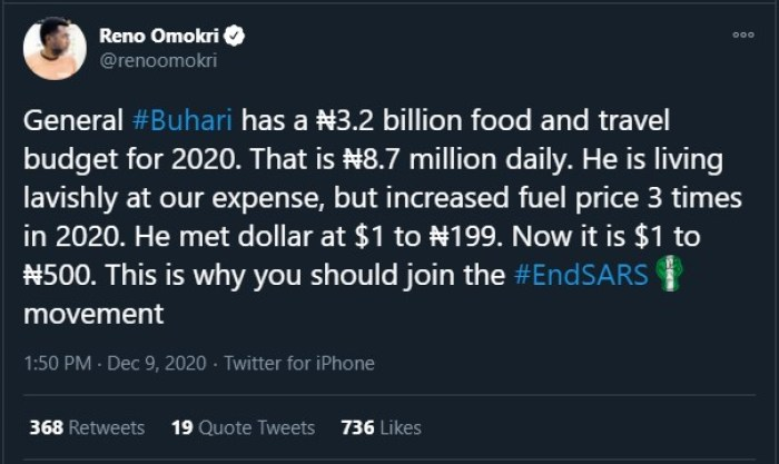 DID YOU KNOW?? Buhari Has A N3.2 Billion Food And Travel Budget For 2020 Which Is N8.7 Million Daily 1