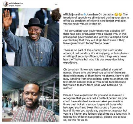 Nigeria Musician J Martins Begs Goodluck Jonathan To Forgive Nigerians