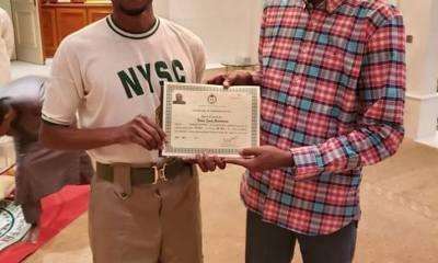 Nigerians React As Yusuf Buhari Receives NYSC Certificate In Aso Rock