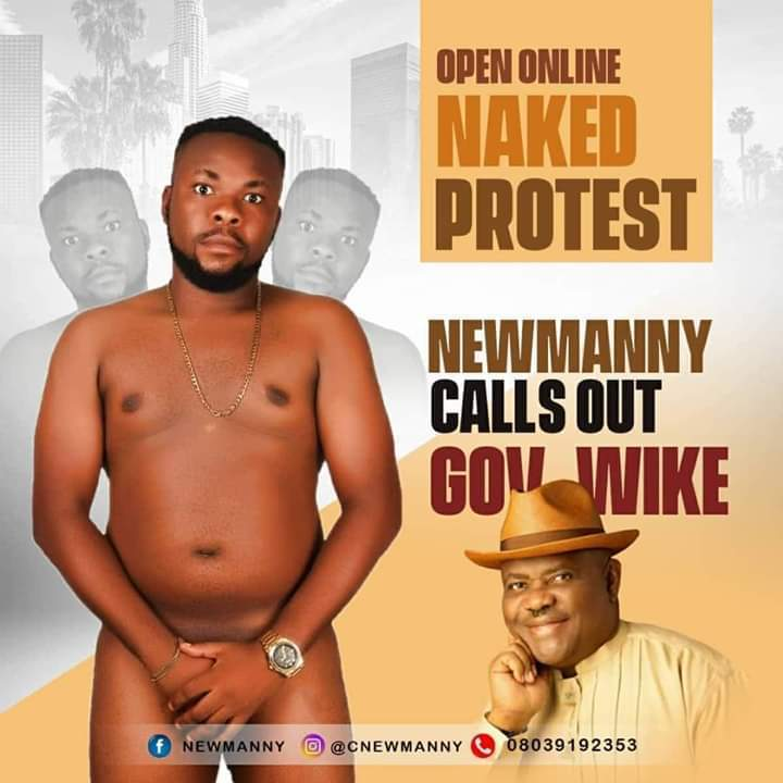 Popular Entertainer Strips Naked To Protest Against Gov. Wike (Photo)