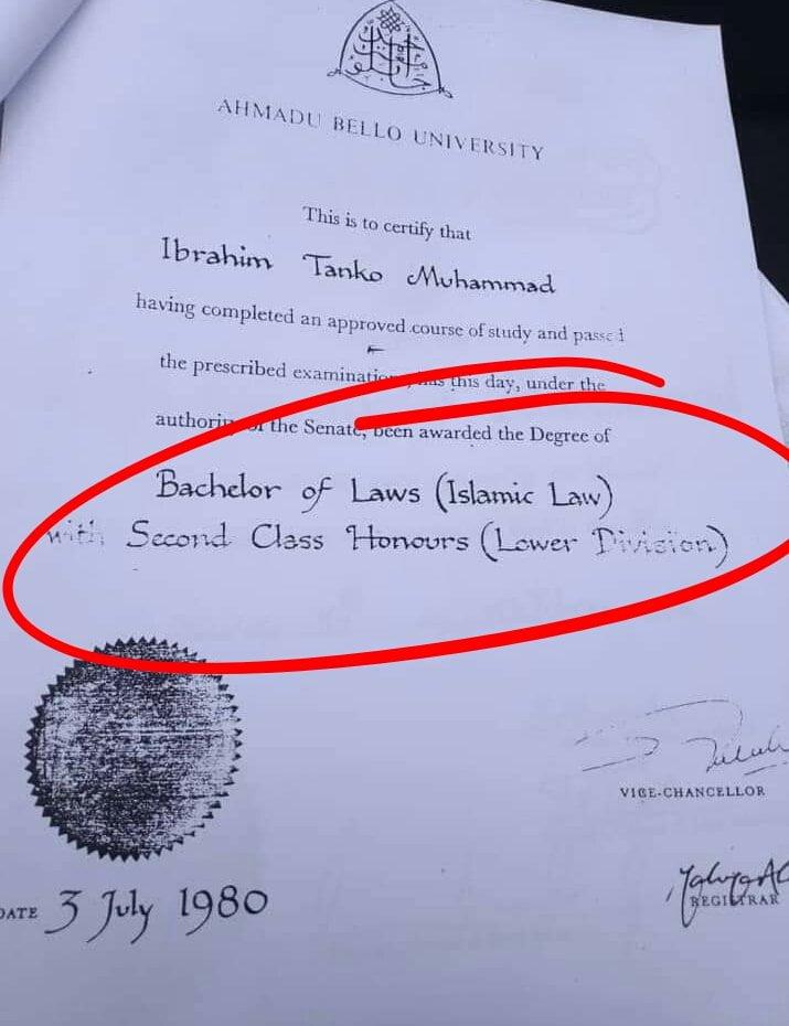 See CJN Tanko Muhammad's University Degree