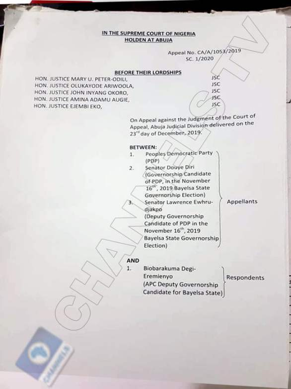 David Lyon's Sack: See Official Summary of Supreme Court Ruling On Bayelsa Election (Photos)