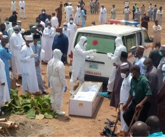 PHOTOS: How Nigerians Violated Social Distancing At Abba Kyari's Burial
