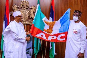 Just In: Edo 2020: Buhari Hands Over APC Flag To Ize-Iyamu At Aso Villa – [Photos]