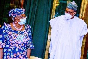 Buhari and NOIweala - WTO DG: Buhari Reveal His Plans To Ensure Ngozi Okonjo-Iweala's Victory