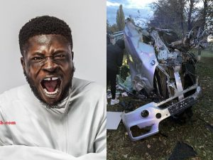 Nigerian Comedian, Crazy Clown Escapes Death In A Ghastly Motor Accident – [Photos]